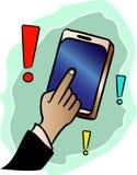 Покажите ответ с вашим пальцем на мобильном телефоне в применении зацепляет икону иллюстрация штока