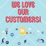 Показ знака текста мы любим наших клиентов Схематический клиент фото заслуживает хорошее уважение удовлетворения обслуживания бесплатная иллюстрация