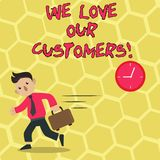 Показ знака текста мы любим наших клиентов Схематический клиент фото заслуживает хорошее уважение удовлетворения обслуживания иллюстрация штока
