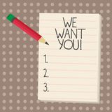 Показ знака текста мы хотим вас Схематическая компания фото хочет нанимать вакансию ища занятость работы талантов иллюстрация штока