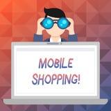 Покупки текста сочинительства слова передвижные Концепция дела для покупая продуктов онлайн технологическое приобретение беспрово иллюстрация штока