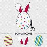 Покрашенные пасхальные яйца и уши зайчика - значки бонуса красочной иллюстрации вектора включающие - изолированные на прозрачной  бесплатная иллюстрация