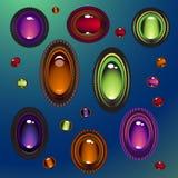 Покрашенные драгоценные камни, украшения также вектор иллюстрации притяжки corel иллюстрация вектора