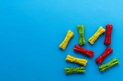 Покрашенный жевать косточки на голубой предпосылке стоковые фотографии rf