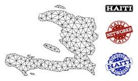 Полигональная карта вектора сетки сети печатей Grunge Гаити и сети бесплатная иллюстрация