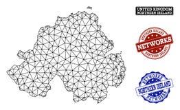 Полигональная карта вектора сетки сети печатей Grunge Северной Ирландии и сети бесплатная иллюстрация
