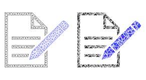 Полигональная сетка туши редактирует страницу текста и значок мозаики иллюстрация штока