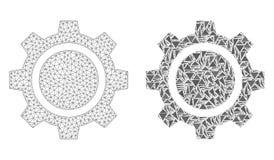 Полигональные колесо шестерни сетки рамки провода и значок мозаики бесплатная иллюстрация