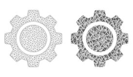 Полигональные колесо Cog сетки рамки провода и значок мозаики иллюстрация штока