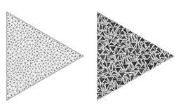 Полигональные функция игры сетки туши и значок мозаики иллюстрация вектора