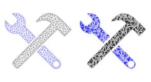 Полигональные 2D инструменты обслуживания сетки и значок мозаики иллюстрация штока