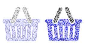 Полигональные 2D корзина для товаров сетки и значок мозаики бесплатная иллюстрация