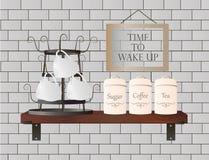 Полка со стойкой с чашками и контейнерами иллюстрация штока