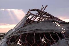 Получившаяся отказ Средняя Азия yurt стоковое изображение rf