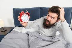 Получите вверх с будильником Overslept снова Подсказки для просыпать вверх предыдущее Кровать стороны человека бородатая сонная с стоковая фотография