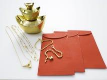 Подарки в китайском Новом Годе, золоте стоковые изображения rf