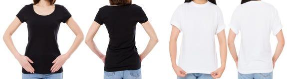 Подрезанная женщина в белой и черной футболке изолированные спереди и сзади взгляды отображает пустые варианты футболки, девушка  стоковая фотография rf