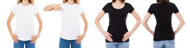 Подрезанная женщина в белой и черной футболке изолированные спереди и сзади взгляды отображает пустые варианты футболки, девушка  стоковое изображение rf