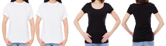 Подрезанная женщина в белой и черной футболке изолированные спереди и сзади взгляды отображает пустые варианты футболки, девушка  стоковые фотографии rf