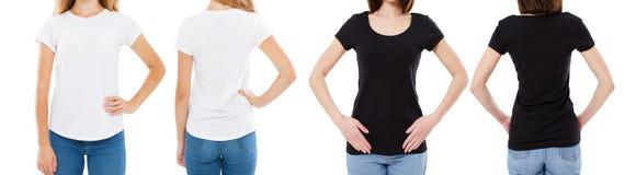 Подрезанная женщина в белой и черной футболке изолированные спереди и сзади взгляды отображает пустые варианты футболки, девушка  стоковое изображение