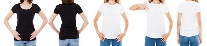 Подрезанная женщина в белой и черной футболке изолированные спереди и сзади взгляды отображает пустые варианты футболки, девушка  стоковые изображения