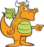 Подогнали мультфильмом, который указывать дракона стоковое изображение rf
