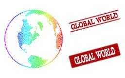 Поставленная точки карта спектра глобальных уплотнений печати мира и Grunge иллюстрация штока