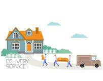 Портеры иллюстрации стиля мультфильма вектора носят софу и коробки двигать дома новый к Компания перехода Поставка товаров бесплатная иллюстрация