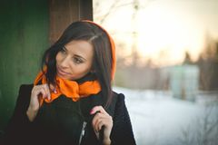 Портрет моды молодого мусульманского нося hijab стоковое изображение rf