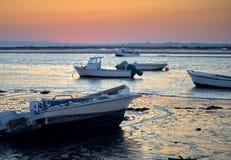 Порт захода солнца шлюпок стоковые изображения rf