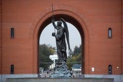 Мonument to Archangel Gabriel. Yoshkar-Ola, Russia - October 5, 2017 Photo of the monument to Archangel Gabriel at the Arkhangelsk settlement in Yoshkar-Ola Stock Photos