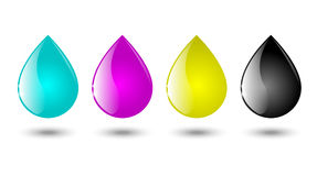 Drops of CMYK color Stock Photography