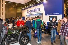 ÐœÐ-¾ Ñ 'Ð ¾ Парк-2015 Motopark-2015 (BikePark-2015) Der Ausstellungsstand mit Motorrädern und ATVs Lizenzfreies Stockfoto