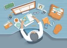 Ðœan handstilanmärkningar i en stadsplanerare på ett träskrivbord För Workspacekontor för arbetsplats skrivbords- tillförsel, bok vektor illustrationer