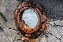 Оld statek, wyrzucać na brzeg morze Azov Obraz Stock