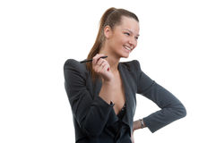 Иusiness woman holding pen in her hand stock image
