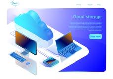 Г рукCloud-Web-pagina van de gegevensopslag malplaatje voor websites over de gegevensverwerking van de diensten Isometrische  royalty-vrije illustratie