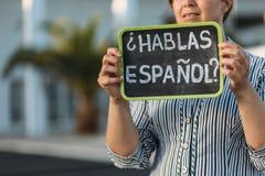 Ð与问题habla espanol的¡ halkboard 免版税库存照片