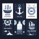 Ð海洋卡片的¡ ollection 免版税库存照片