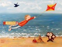 Ð飞行风筝的男孩 免版税库存照片
