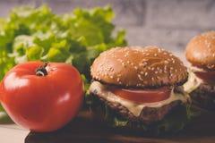 Ð  amburger of sandwich op pakpapier Heerlijke sandwichhamburger met vlees, kaas en verse groente stock foto
