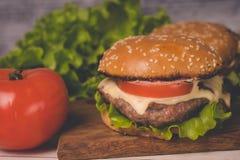 Ð  amburger of sandwich op pakpapier Heerlijke sandwichhamburger met vlees, kaas en verse groente royalty-vrije stock afbeelding