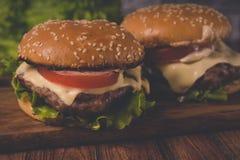 Ð  amburger of sandwich op pakpapier Heerlijke sandwichhamburger met vlees, kaas en verse groente stock afbeelding
