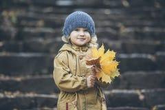 Ð ¡温暖的夹克和帽子的hild女孩在秋天在公园 库存图片