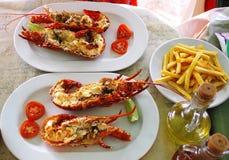 Ð ¡烹调了新鲜的红色龙虾 库存照片
