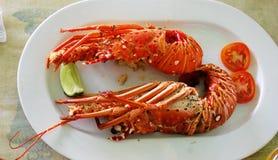 Ð ¡煮熟的龙虾用蕃茄 免版税库存照片