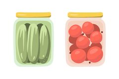 Ð ¡ οι παστωμένα ντομάτες και τα αγγούρια στις τράπεζες Απομονωμένα αντικείμενα στο επίπεδο ύφος διάνυσμα στοκ εικόνες