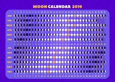 Ð ¡ alendar księżyc fazy dla każdego dnia royalty ilustracja