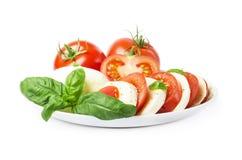 Ð ¡ aprese沙拉用成熟蕃茄和无盐干酪乳酪与新鲜的蓬蒿叶子 烹调意大利语的食品成分 免版税库存图片