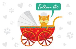 Ð ¡ bij in een wandelwagen Poten van de beeldverhaal de leuke kat Royalty-vrije Stock Foto